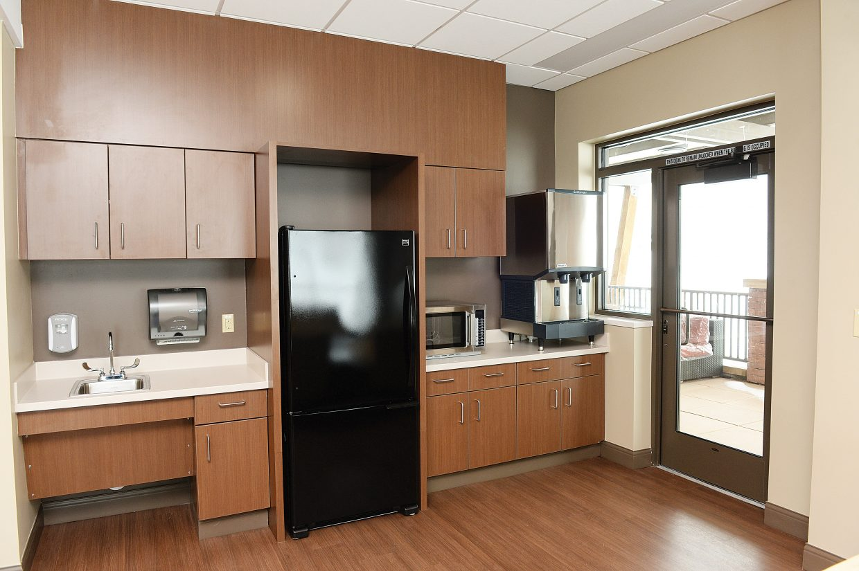 The amenities inside the new Jan Bishop Cancer Center at the Yampa Valley Medical Center include a place for patients and their guests to have refreshments and stay comfortable while loved ones and friends are receiving cancer treatments.