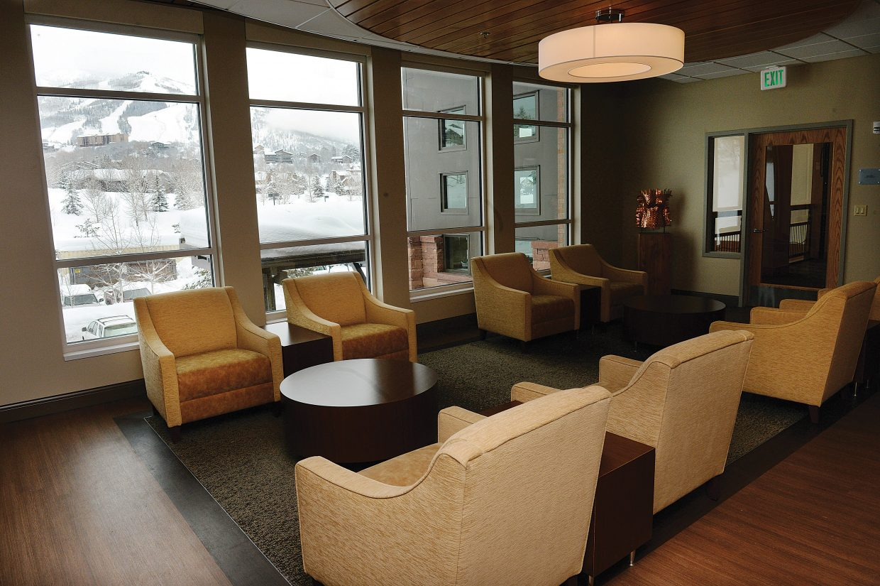 The reception area at the new Jan Bishop Cancer Center, located inside the Yampa Valley Medical Center, offers views of Steamboat Ski Area.