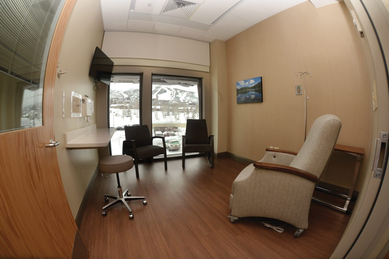 There are private and semi-private treatment rooms at the new Jan Bishop Cancer Center inside Yampa Valley Medical Center. Each room has a view of the slopes of Mount Werner, along with room-darkening blinds to lessen the sunlight if desired.