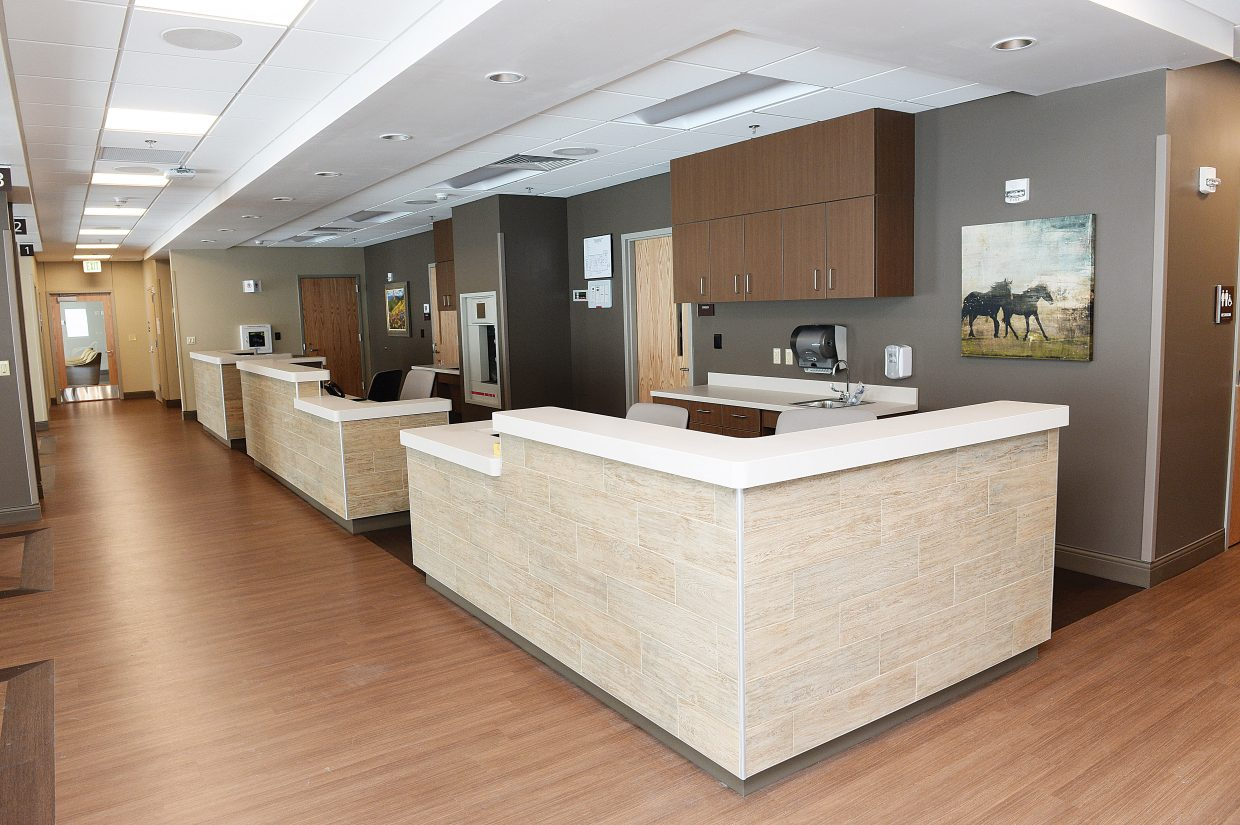 The nurses station features an open floor plan so that nurses have improved access to patients.