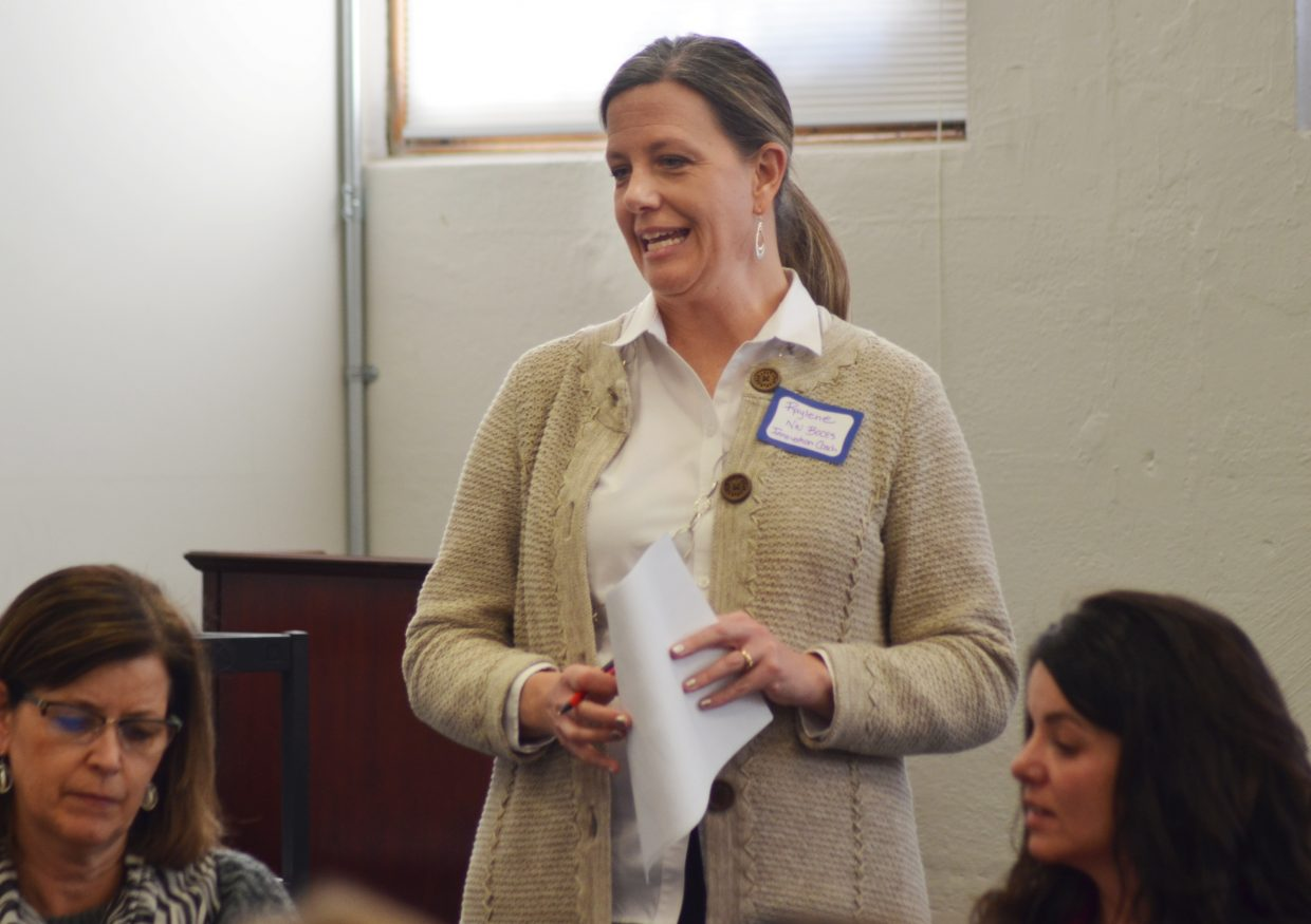 Innovation coach Raylene Olinger speaks to teachers during a meeting at the George P. Sauer Human Services Center in Steamboat Springs Wednesday.