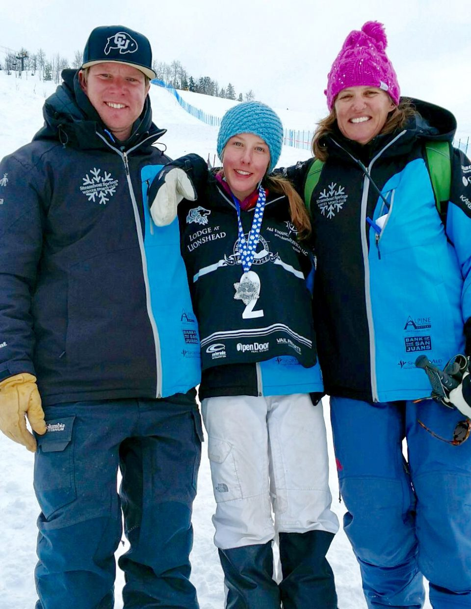 Kenzie Radway, center, won twice during a three-day weekend of moguls skiing in Aspen. Radway added a back flip to her run which made a big difference in her scoring.