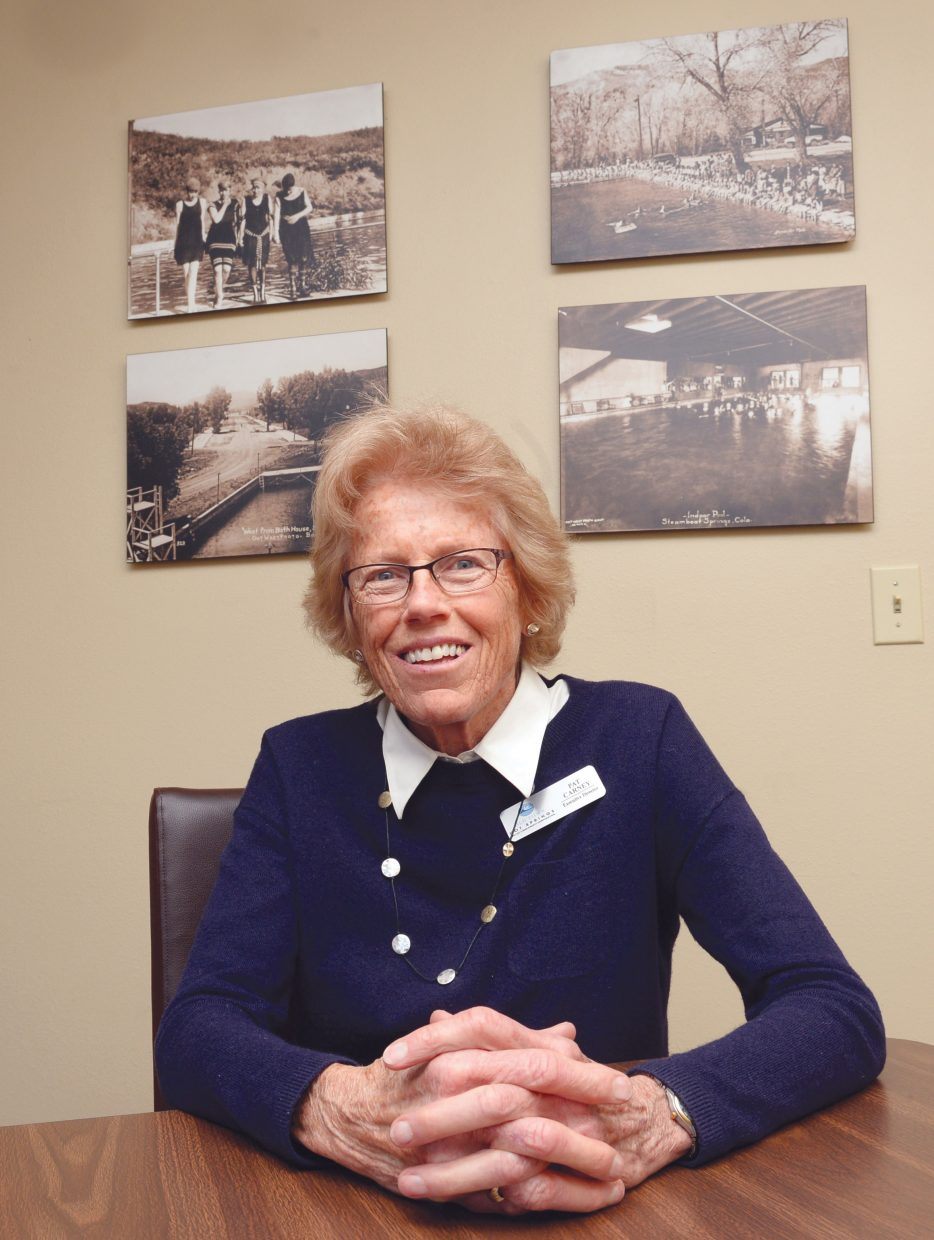 Pat Carney's office is filled with historic photographs of the pools and bathhouse at the Old Town Hot Springs. The longtime executive director of the Old Town Hot Springs will step down from the position on April 1. Carney has served in the position since 1975.