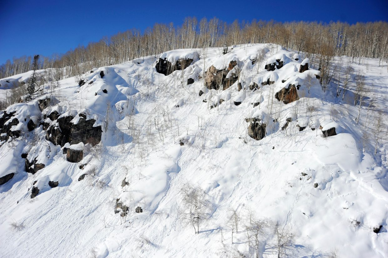 An aerial photo from a Classic Air Medical helicopter shows the path of an avalanche that injured a Routt County Search and Rescue volunteer during a Jan. 12 mission on Buffalo Mountain. The Search and Rescue team come in through a draw on the right side before traversing the steep slope and triggering an avalanche.
