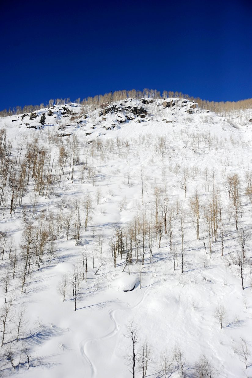 An aerial photo from a Classic Air Medical helicopter shows the path of an avalanche that injured a Routt County Search and Rescue volunteer during a mission Jan. 12, 2017, on Buffalo Mountain.