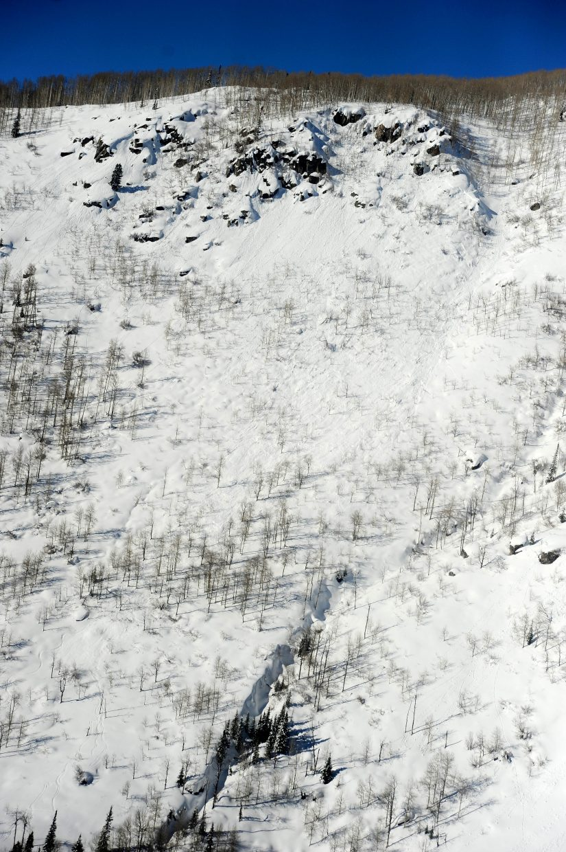 An aerial photo from a Classic Air Medical helicopter shows the path of an avalanche that injured a Routt County Search and Rescue volunteer during a Jan. 12 mission on Buffalo Mountain.