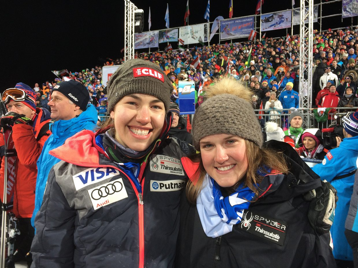 Lila Lapanja, left, and Paula Moltzan celebrate their first World Cup points-scoring finishes in Flachau, Austria.