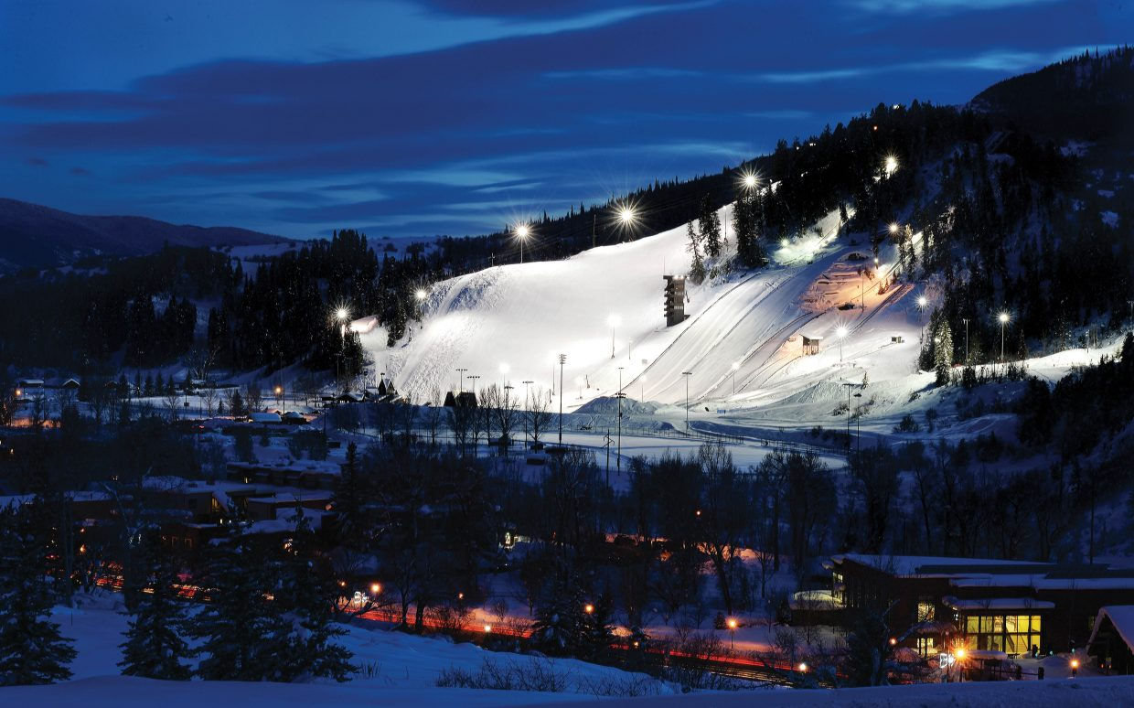 Lights provide a few extra hours of training on the slopes of Howelsen Hlll Tuesday evening. City Council on Tuesday took the first steps in addressing some serious questions about the future of the city's historic ski hill.