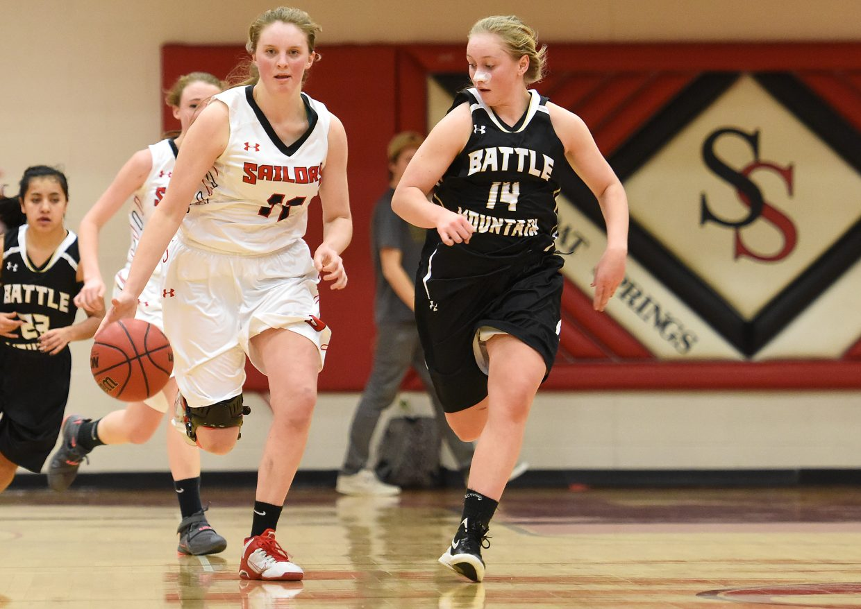 Steamboat senior Annie Osbourn charges down the court Tuesday. The Sailors beat Battle Mountain, their third win in four games.