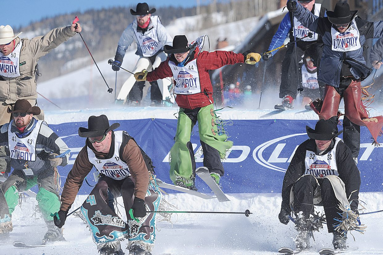 Texas Cowboy Chandler Bownds, No. 44, found himself in a high traffic area during the 40th annual Cowboy Downhill Stampede at the base of Steamboat Ski Area Monday afternoon.