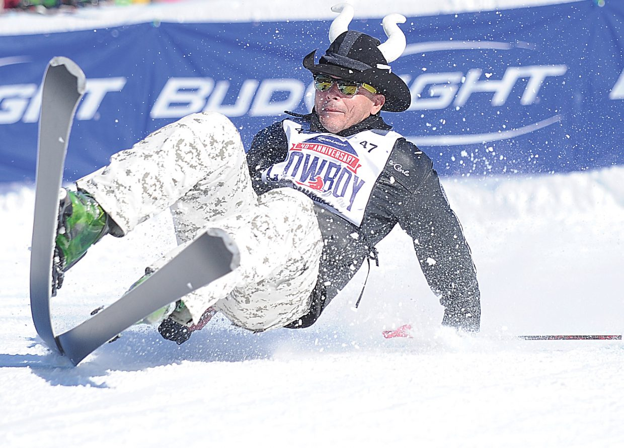 Florida cowboy Boomer Reeves looked ready to take the bull by the horns based on his choice of cowboy hats for Monday's 40th annual Bud Light Cowboy Downhill at the base of Steamboat Ski Area, but he found himself attempting to avoid a three-point landing midway through the race.