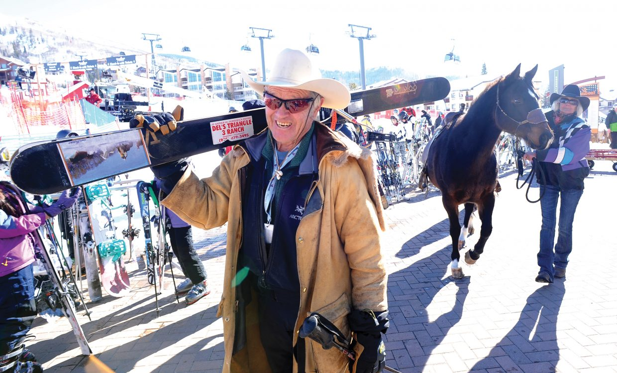 Steamboat Springs cowboy legend Ray Heid heads to the start of the 40th annual Bud Light Cowboy Downhill Monday afternoon.