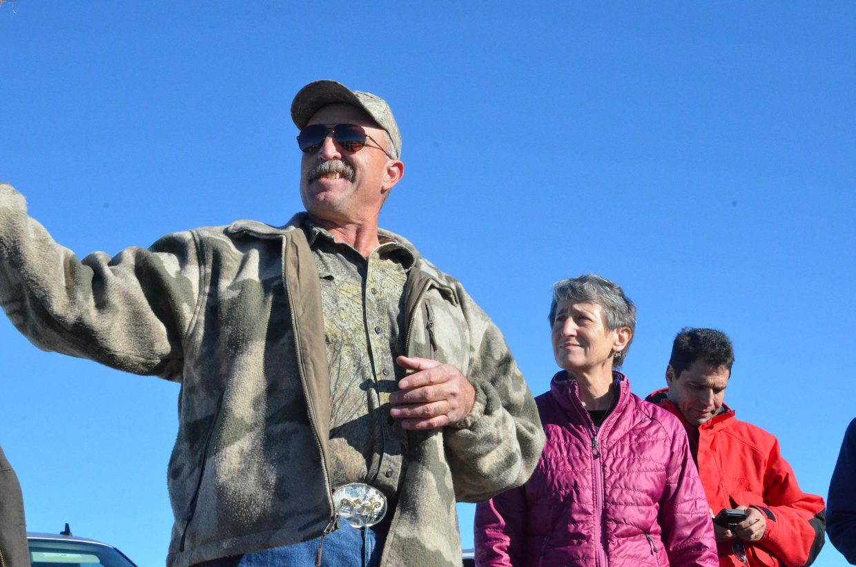 Bord Gulch Ranch owner Ray Owens shows U.S. Interior Secretary Sally Jewell his property Tuesday in Moffat County, highlighting efforts he's made to help sage grouse, mule deer and elk populations thrive in Northwest Colorado. Gov. John Hickenlooper joined Jewell on the tour.