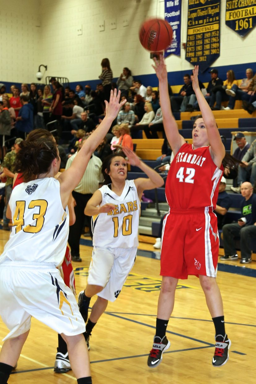 Steamboat senior Amaris Duryea shoots and scores in Tuesday's 35-18 loss to Rifle.
