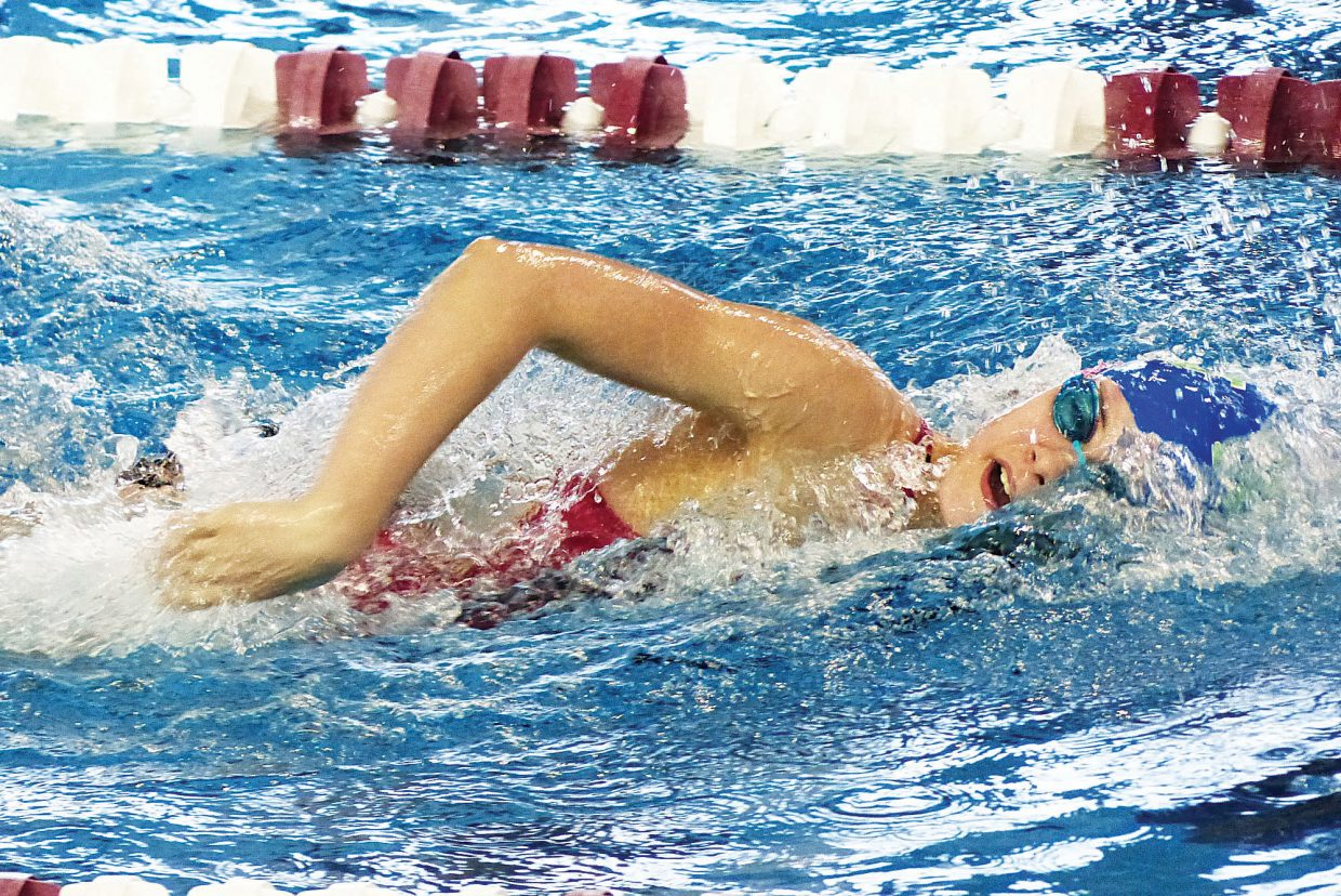 Annika Fahrner makes her way across the pool in Grand Junction last weekend en route to posting top times at the MAValanche Invite.