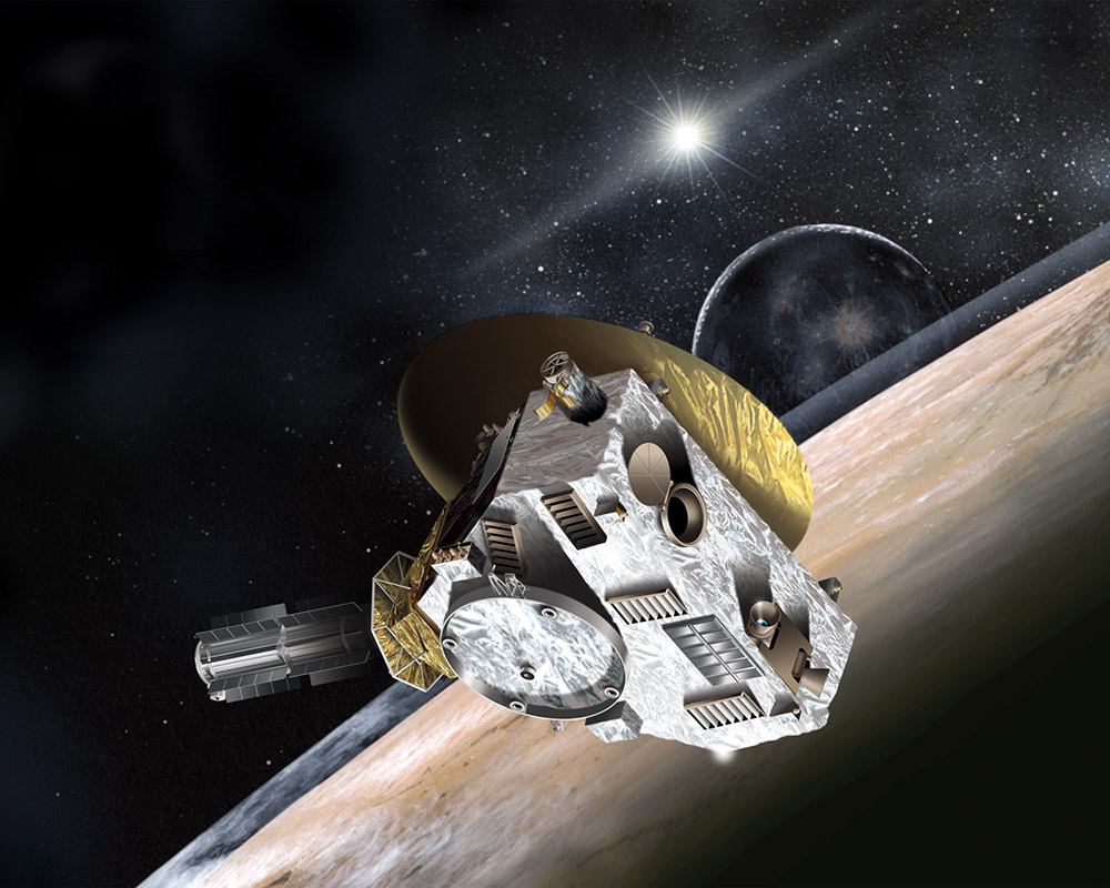 This artist rendering shows the New Horizons spacecraft, which was launched in January 2006 and will pass by Pluto this July. Dr. Fran Bagenal, a scientist involved in the mission since 1989, will give a free talk at Colorado Mountain College at 7 p.m. Wednesday.