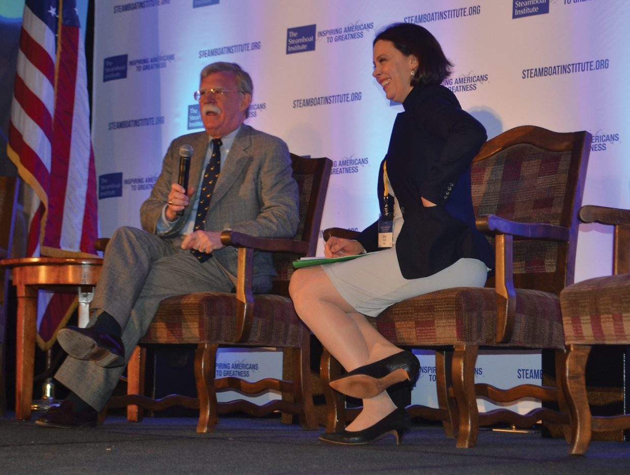 Mary Kissel, right, editorial board member of the Wall Street Journal and former editorial page editor of the Wall Street Journal Asia, interviews former U.N. Ambassador John R. Bolton about national security issues. Bolton and Kissel appeared as part of the Steamboat Institute's daylong Summit on Foreign Policy and Global Security Friday at the Steamboat Grand.