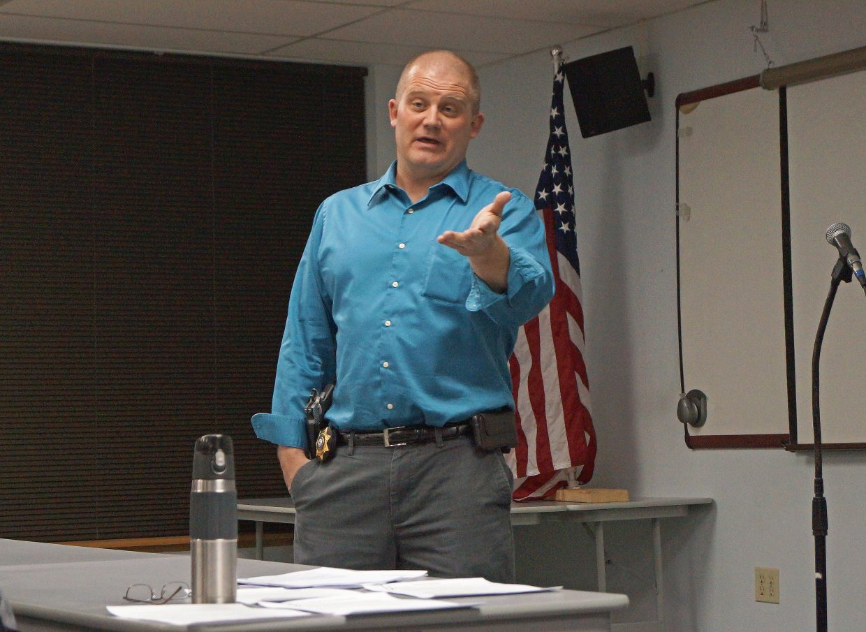 Moffat County Sheriff KC Hume lead's a discussion on the Colorado's precinct caucuses at the Bears Ears Tea Party Patriots' Jan 14. meeting.