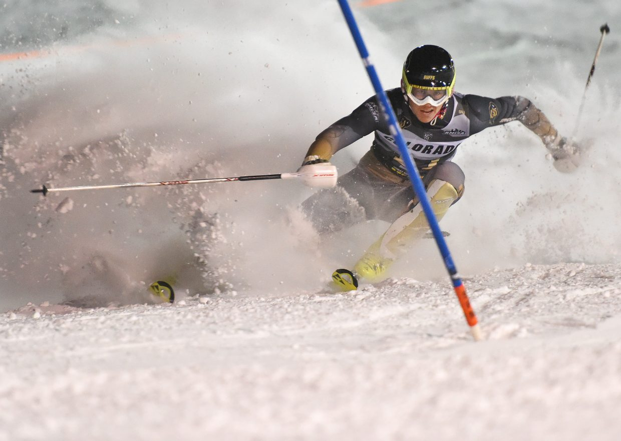 Finnish University of Colorado skier Max Luukko cuts hard to try to stay on course during a slalom race at Howelsen Hill in Steamboat Springs on Friday night. He was successful, but he wrestling match with the downtown Steamboat slope cost him and he ended up in 21st place. Skiers new to the slope and those with plenty of experience all struggled to navigate their way from top to bottom Friday.