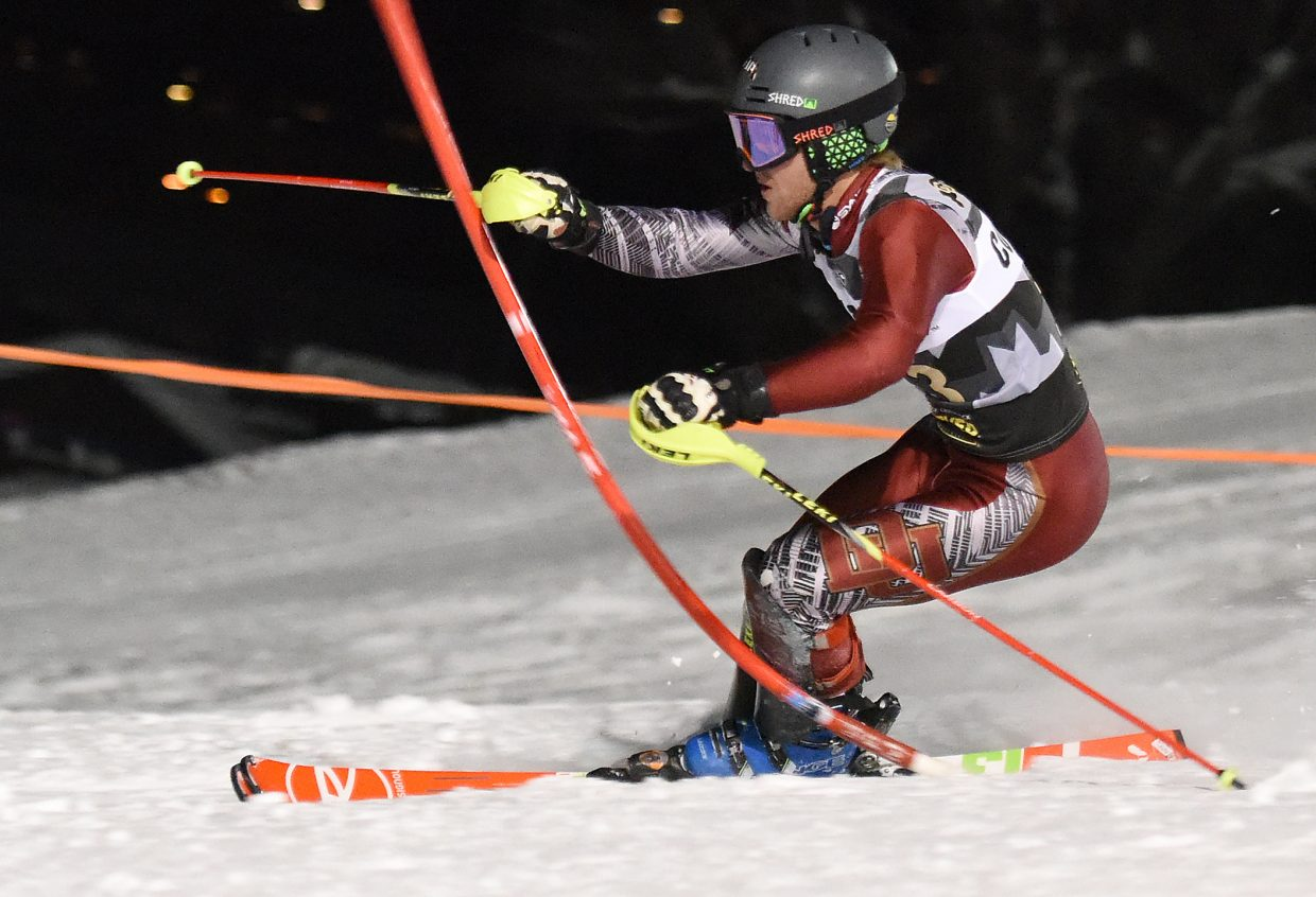 Steamboat Springs skier Max Marno, skiing for University of Denver, races toward the finish line at Howelsen Hill on Friday.
