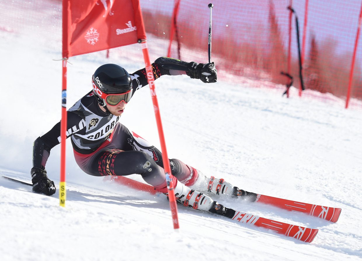 Utah's Endre Bjertness cuts down All Out at Steamboat Ski Area in pursuit of a win in a NCAA giant slalom event. He ended up edging out the competition to win the race.