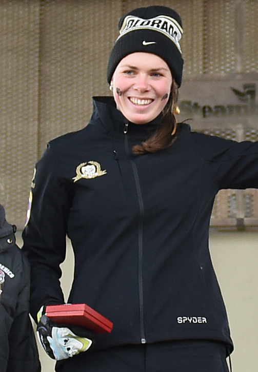 University of Colorado's Tonje Healey Trulsrud celebrates atop the podium Saturday after winning a giant slalom race at Steamboat Ski Area.
