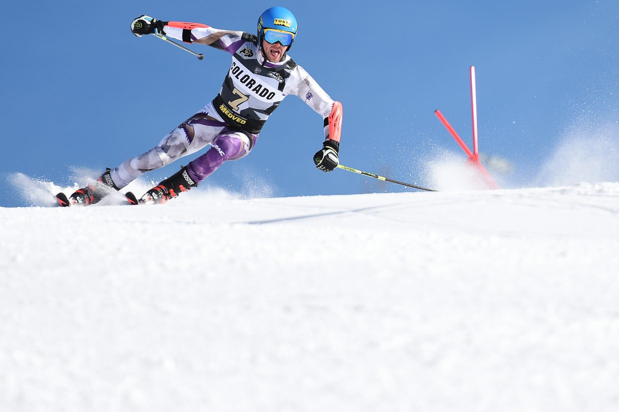 Westminster College skier Giulio Bosca heads for a gate Saturday during a giant slalom event at Steamboat Ski Area.