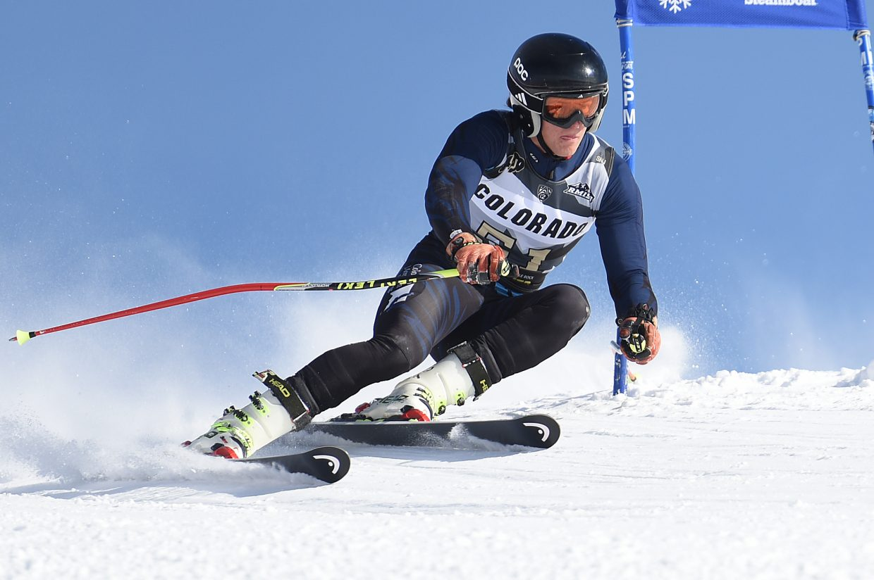 Colorado Mountain College skier Tai Juneau makes it around a gate during a NCAA giant slalom at Steamboat Ski Area.
