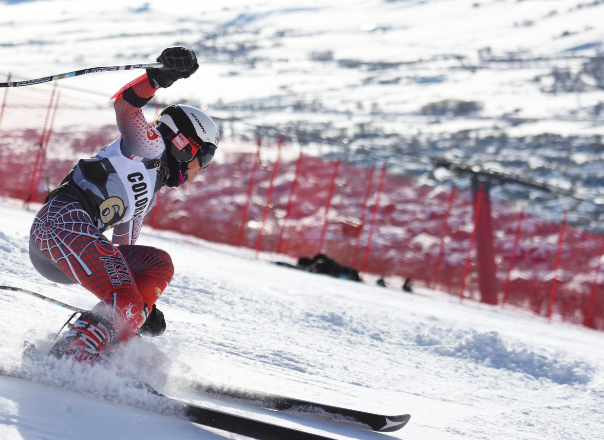Skier Will Barlow cuts down a giant slalom course Saturday high above Steamboat Springs.