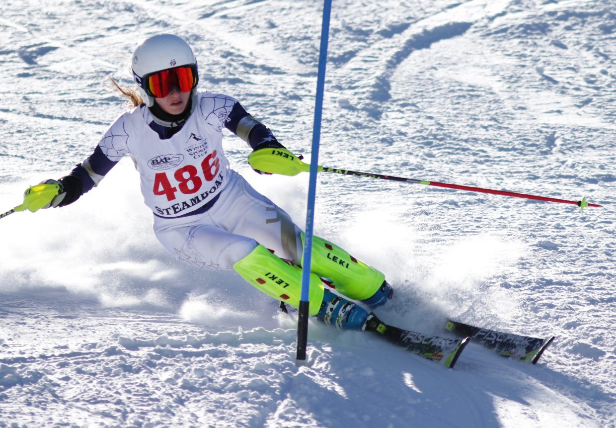 Steamboat Springs High School skier MacKenzie Gansmann competes Friday in a slalom race at Ski Cooper. She finished third.