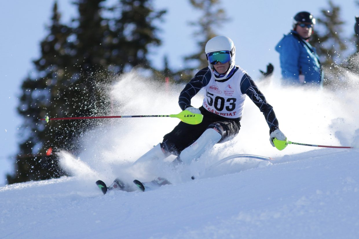 Steamboat Springs High School skier Britt Walton skis during a slalom race at Ski Cooper. He went on to finish second.