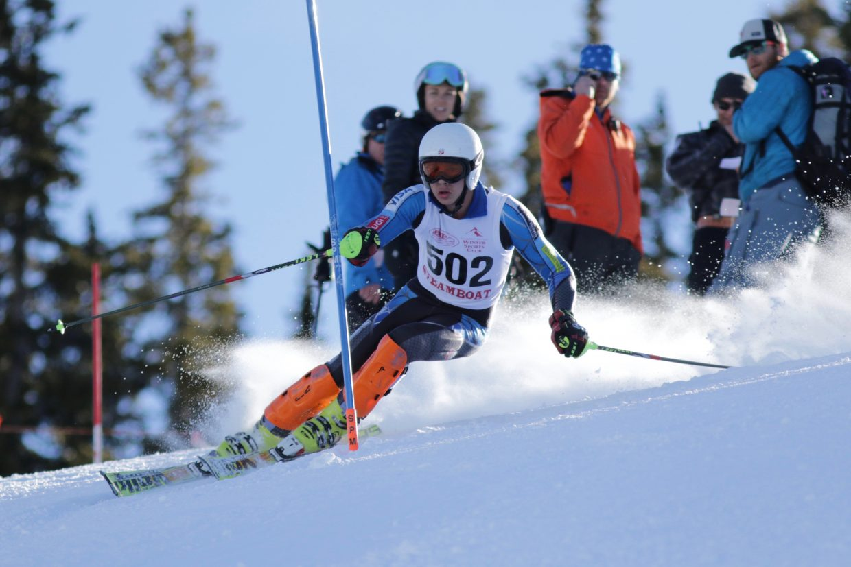 Steamboat Springs skier Alexander Coffey skis a slalom run at Ski Cooper on Friday.