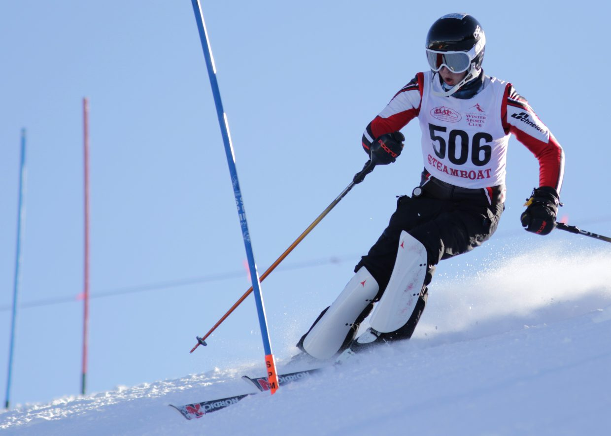 Steamboat Springs High School skier Wyatt Reynolds makes his way down a slalom course at Ski Cooper on Friday.