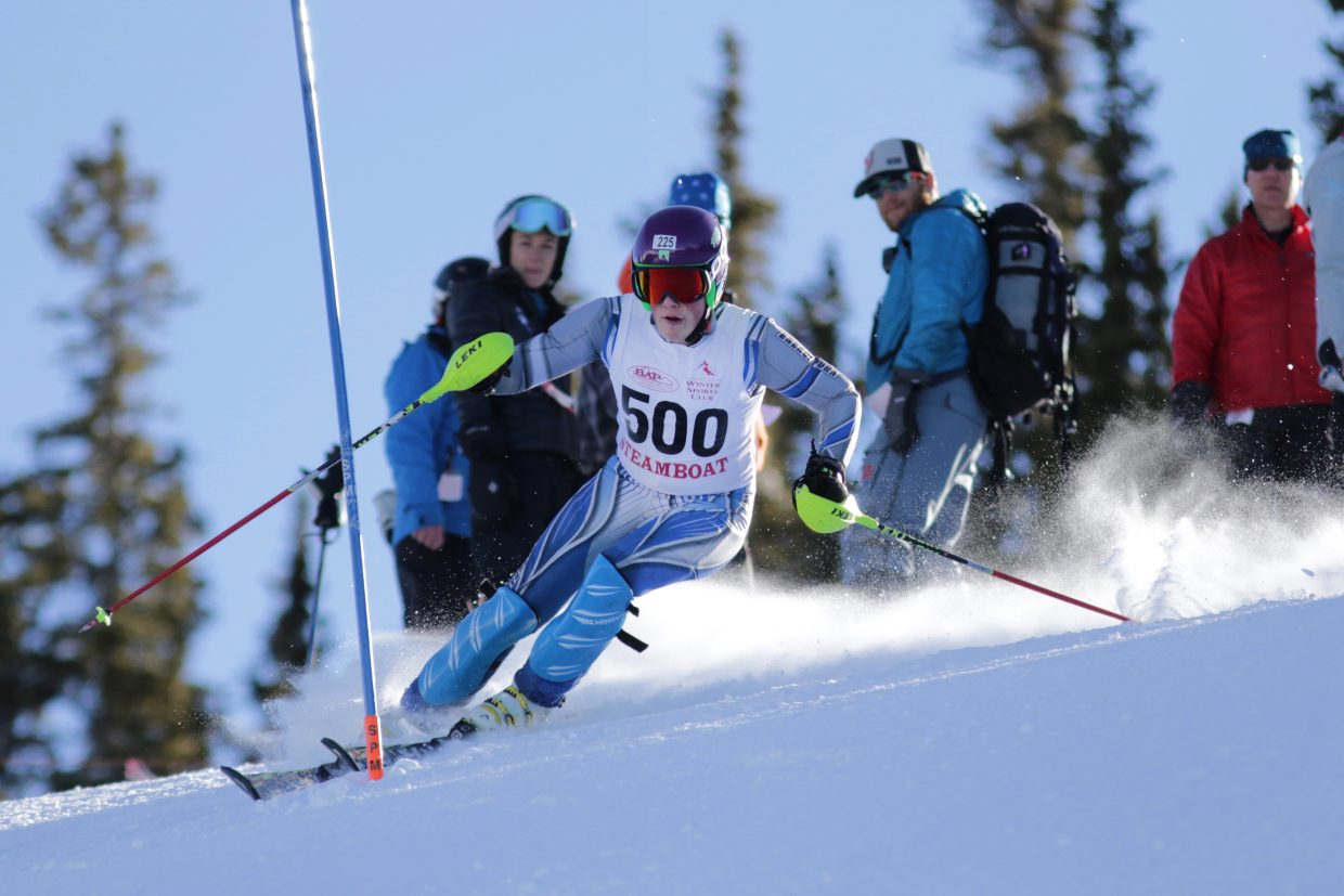 Steamboat Springs High School skier Rio Graab competes Saturday in a slalom race at Ski Cooper.