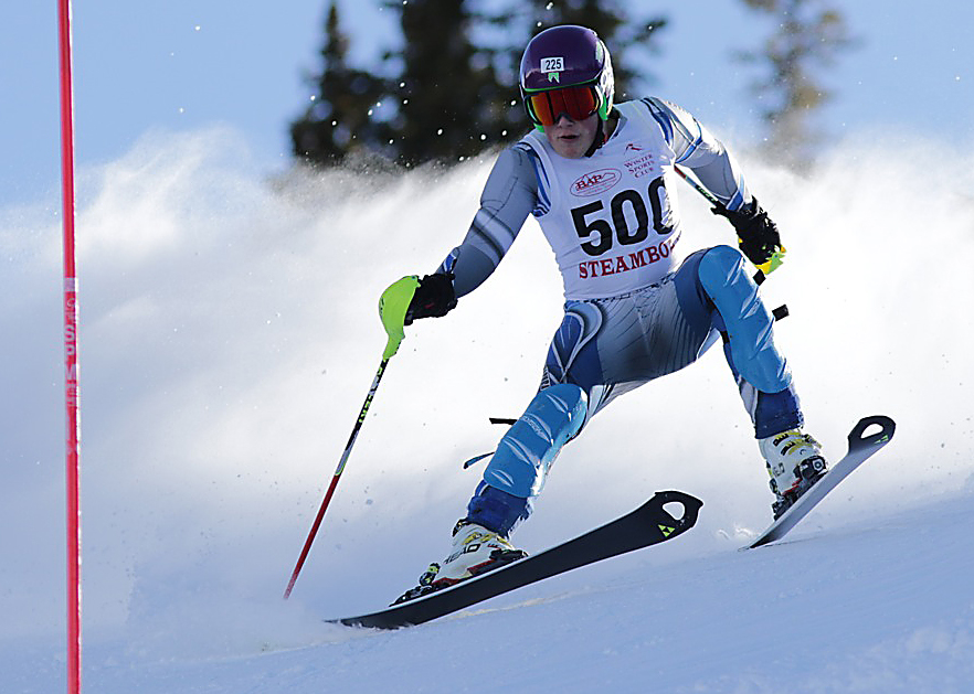 Steamboat Springs High School skier Rio Graab tries to maintain control while competing in a slalom race at Ski Cooper. He did, going on to a sixth-place finish.