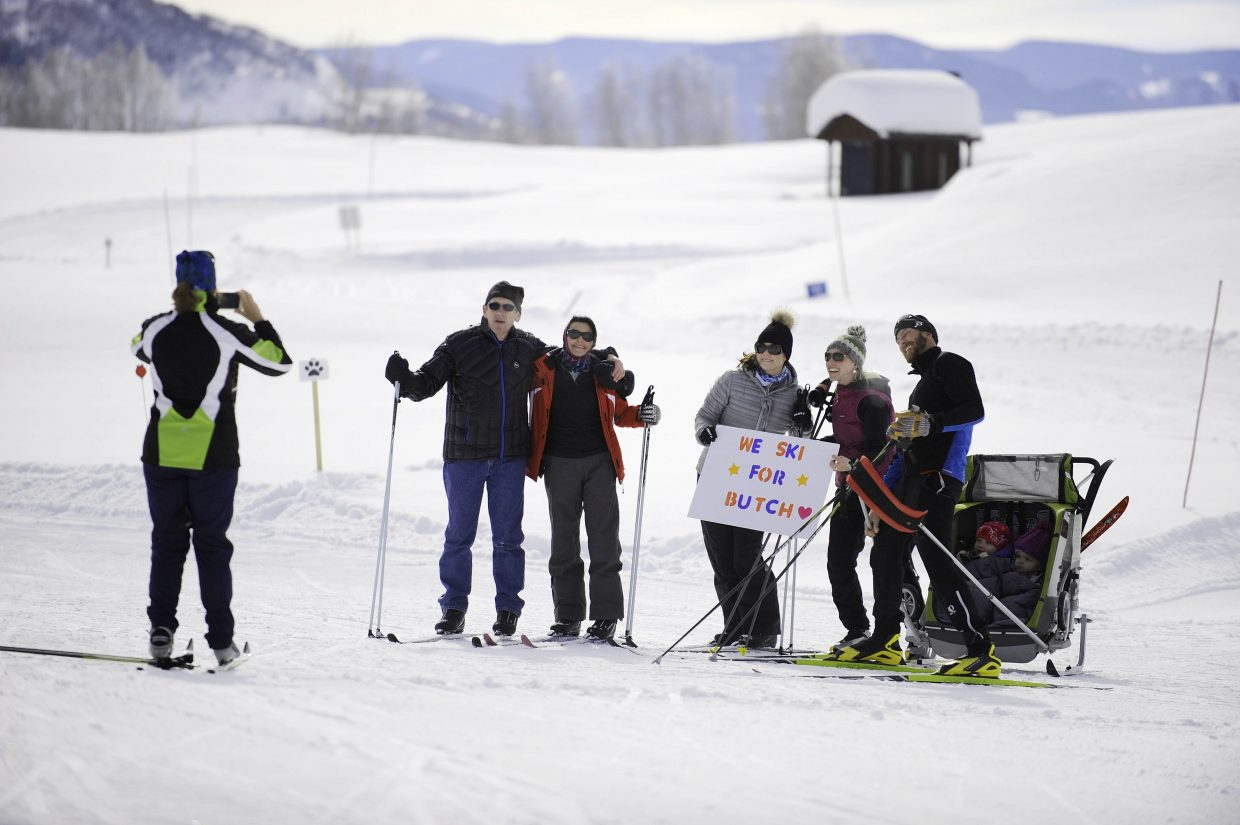 A group poses for a picture during last year's Ski for Parkinson's fundraiser.