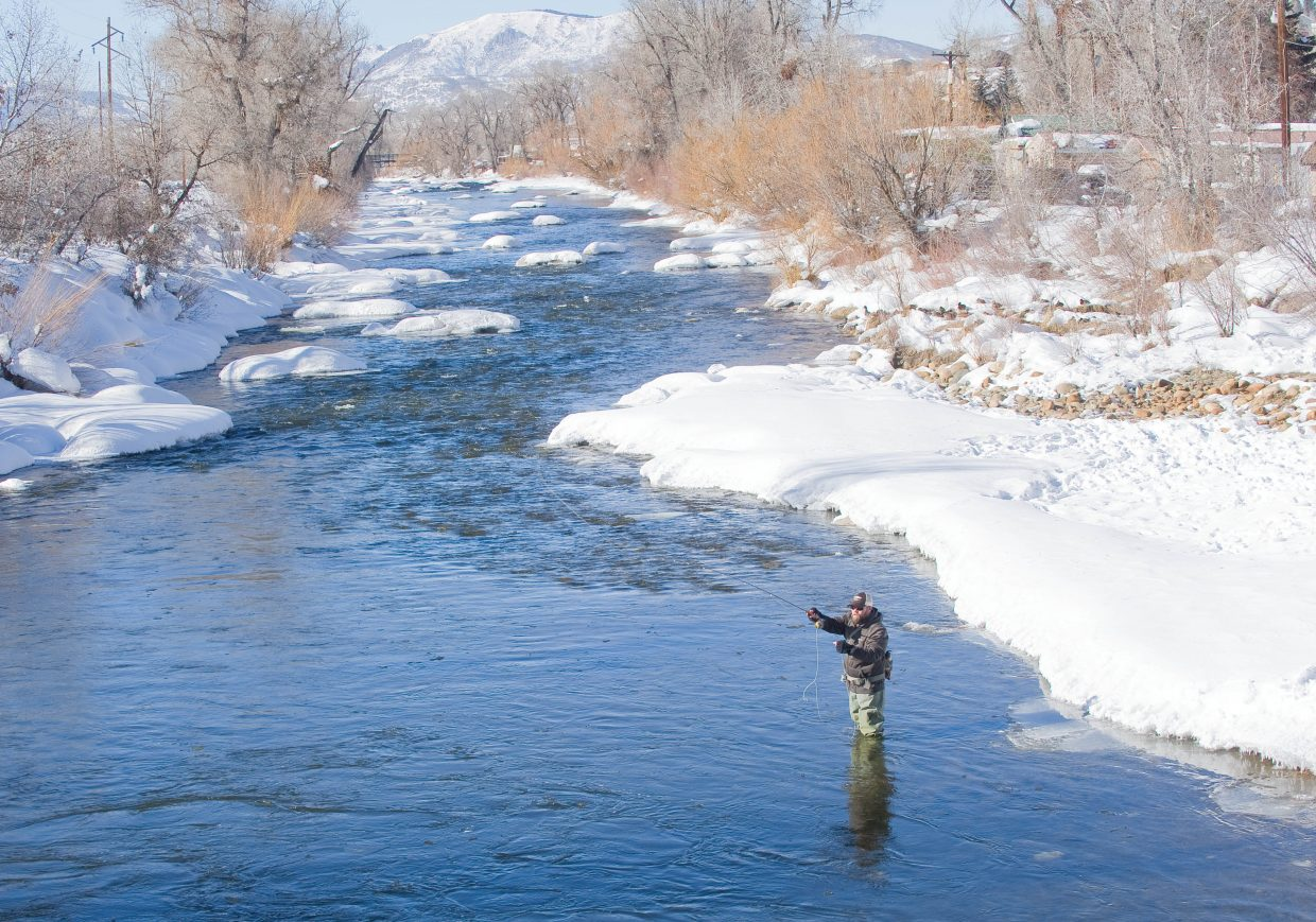 Daniel Daffer stands in the cold waters of the Yampa River while fly-fishing Friday afternoon.