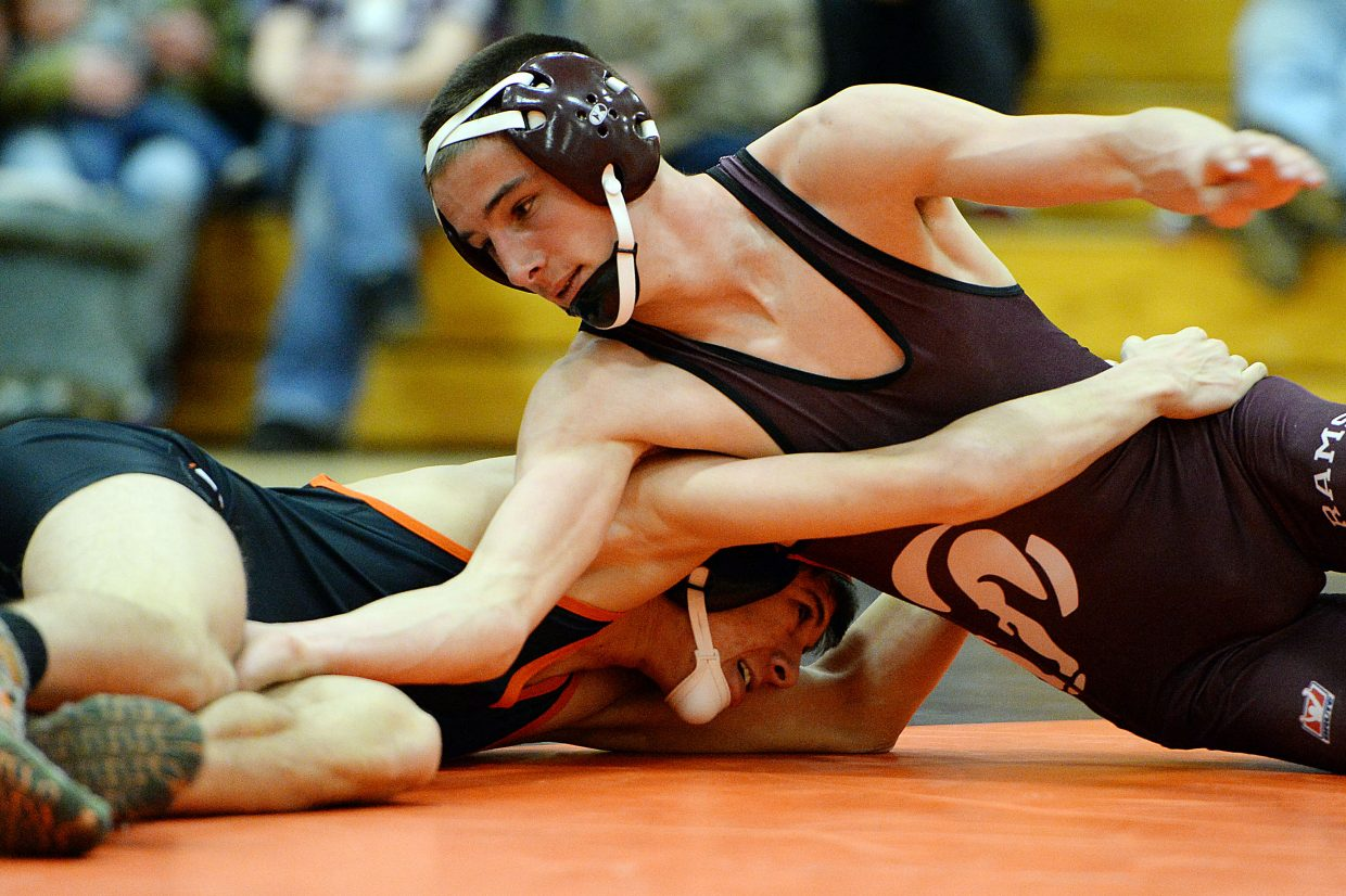 Soroco's Colton Martindale and Hayden's Tanner Guire battle on Friday.