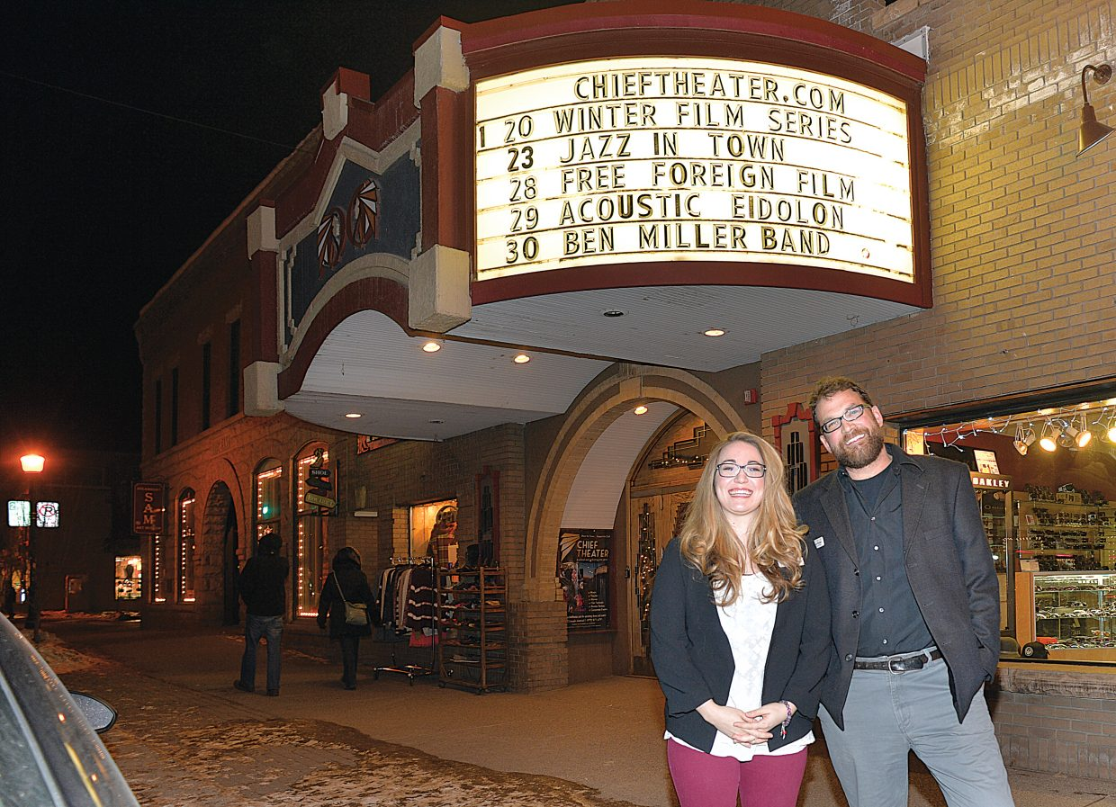 Today, the Chief Theater continues to show a variety of programming and is a connecting thread for the community. In this photo are Scott Parker, executive director, and Ashley Waters, event director for the Chief Theater.