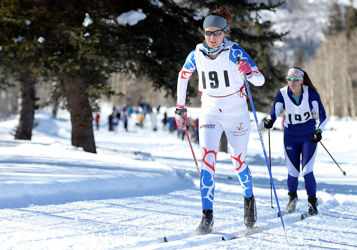 Meg O'Connell skis Saturday in a high school cross-country race at Steamboat Ski Touring Center in Steamboat Springs.