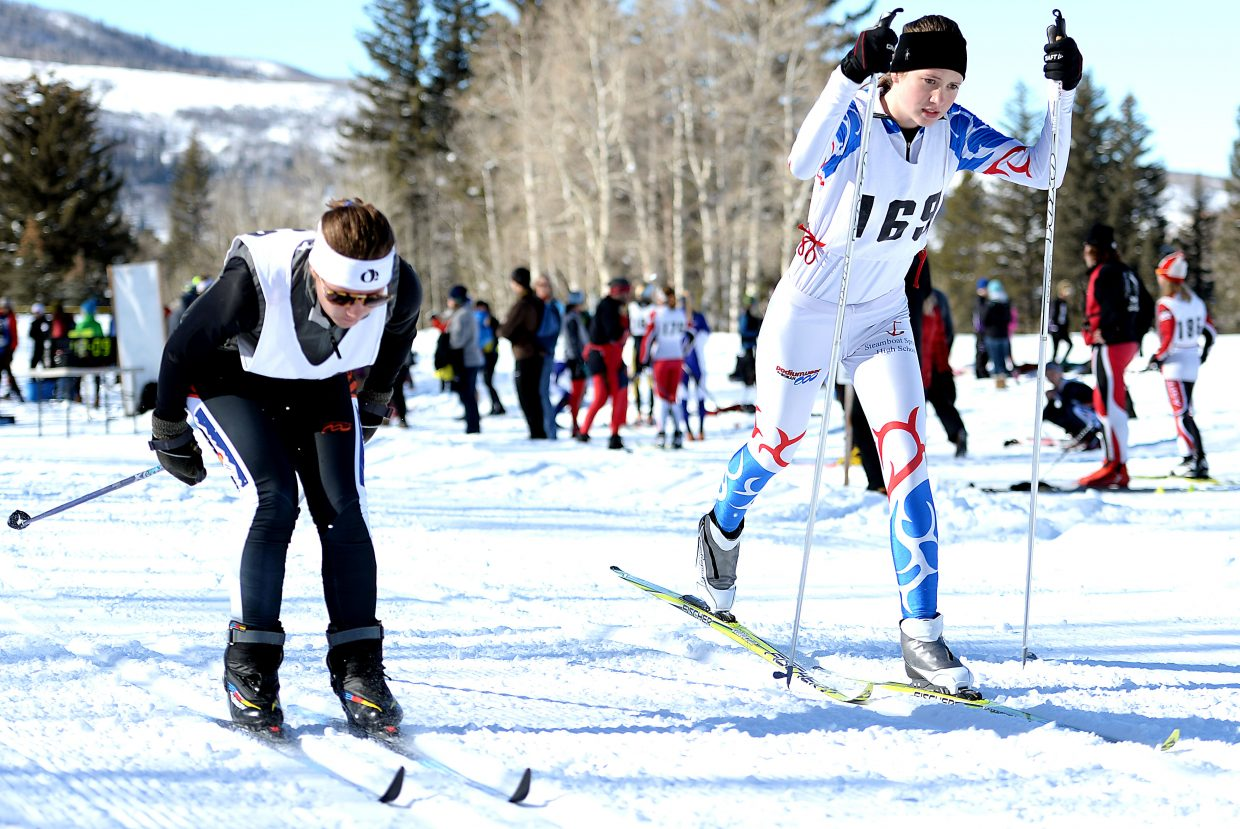 Linnea Zink skis Saturday in a cross-country ski event in Steamboat Springs.