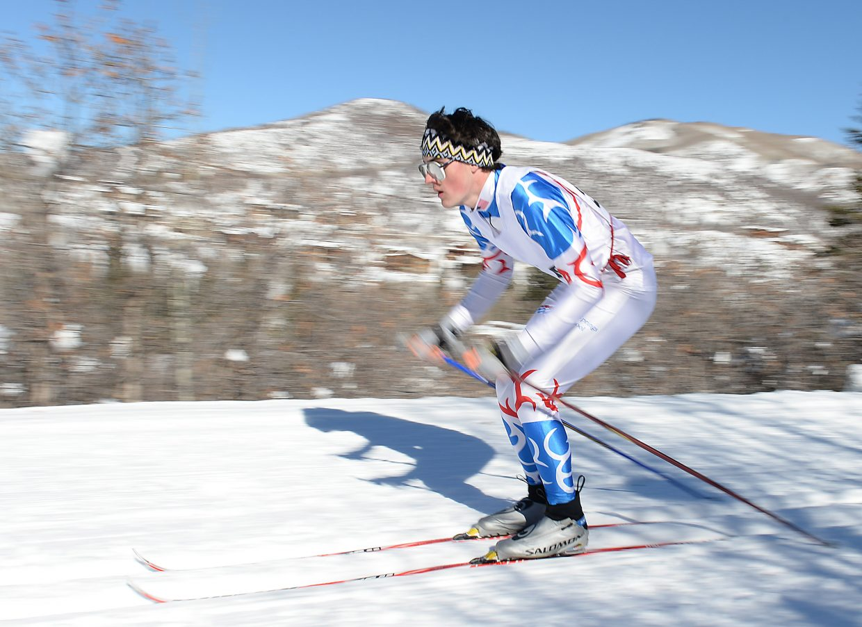 Andreas Foulk flies down the course Saturday during a high school cross-country ski race in Steamboat Springs.