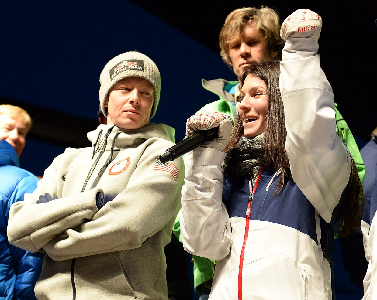 Eliza Outtrim speaks on Saturday at the Olympic sendoff event at Steamboat Ski Area. Outtrim, a Lowell Whiteman graduate, will compete in freestyle moguls in her first Olympics next month.