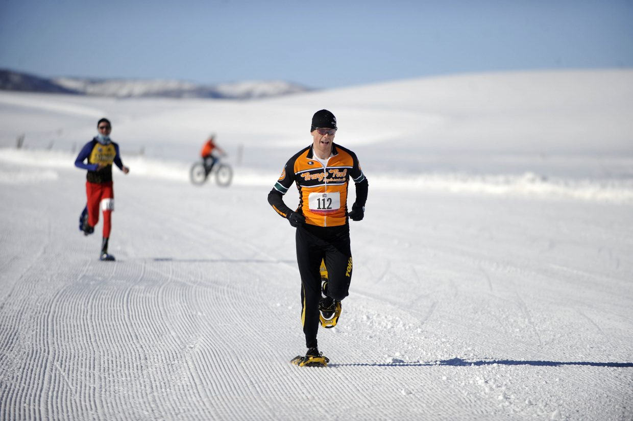 Barkley Robinson sprints to the finish line Saturday during the first Steamboat Snowshoe Series race at Catamount Ranch & Club.