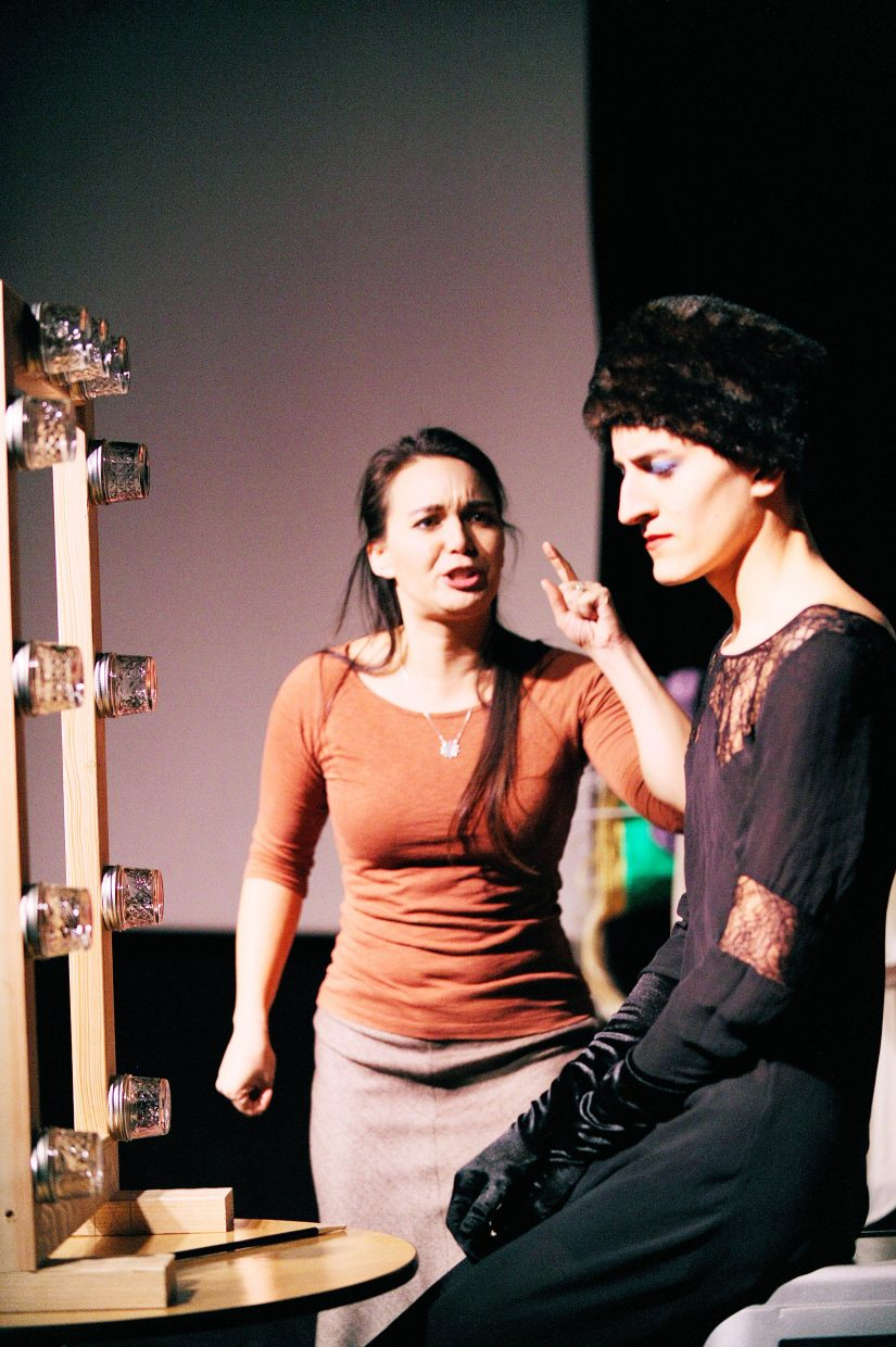 """Sarah Laping and Christin Nieves perform an act during dress rehearsal for """"A Weekend of One Acts"""" presented by the """"Chief Players."""""""