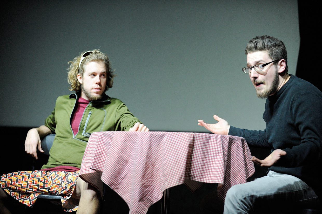 """James Hix, left, and Sean Rook Stool perform an act during dress rehearsal for """"A Weekend of One Acts"""" presented by the """"Chief Players."""""""