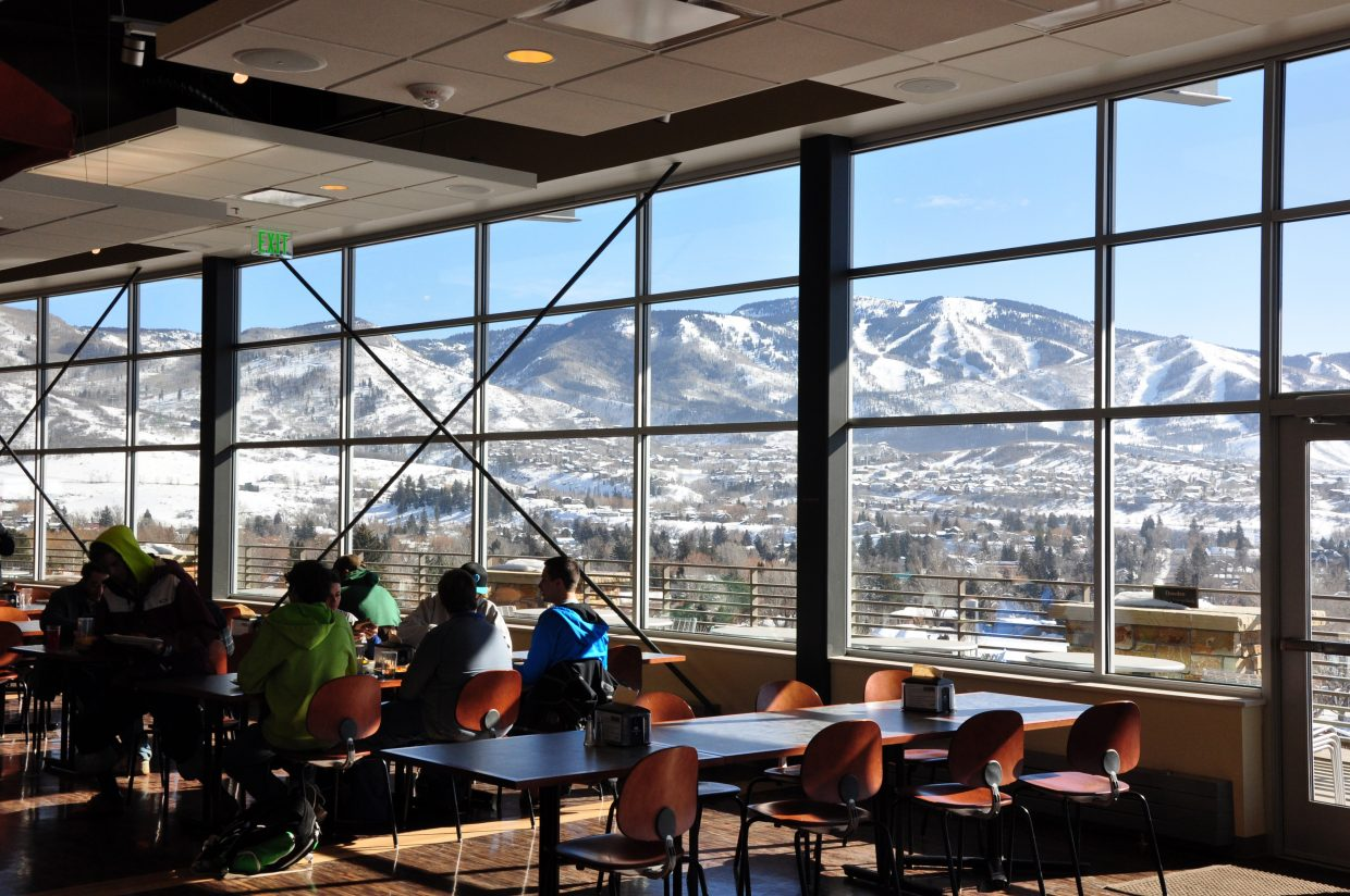 Students each lunch Friday at Colorado Mountain College's Alpine Campus in Steamboat Springs. Brian Hoza, the dean of student affairs, says students and staff continue to adapt to the legalization of marijuana for adults.