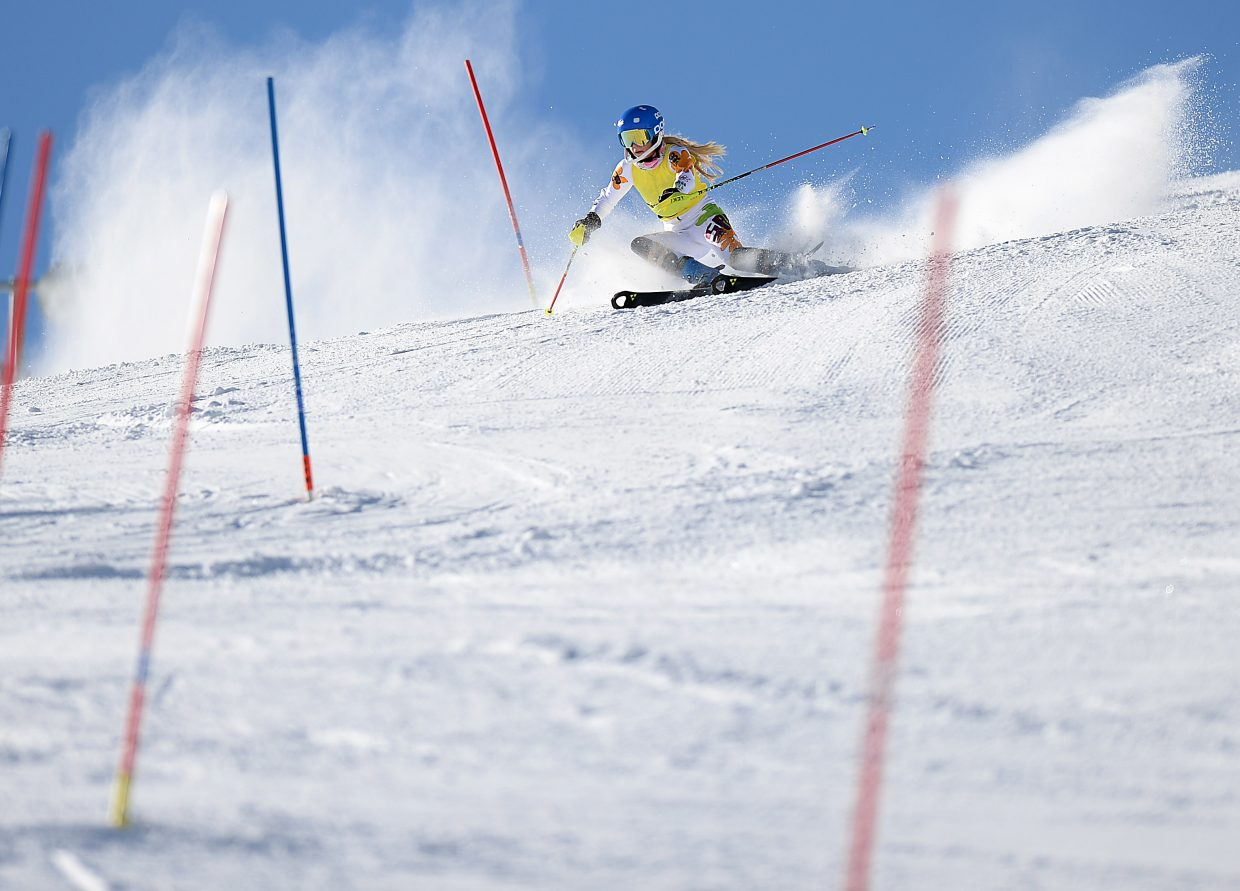 Steamboat's Serina Kidd cuts down Howelsen Hill through a slalom course Sunday. Kidd won two races this weekend in the Colorado Ski Cup event in Steamboat Springs.