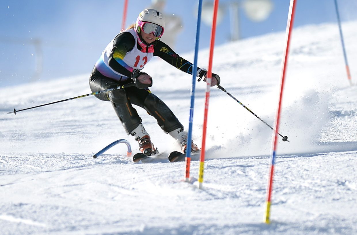 Chandler Sedberry weaves through gates Sunday at Howelsen Hill in Steamboat Springs.