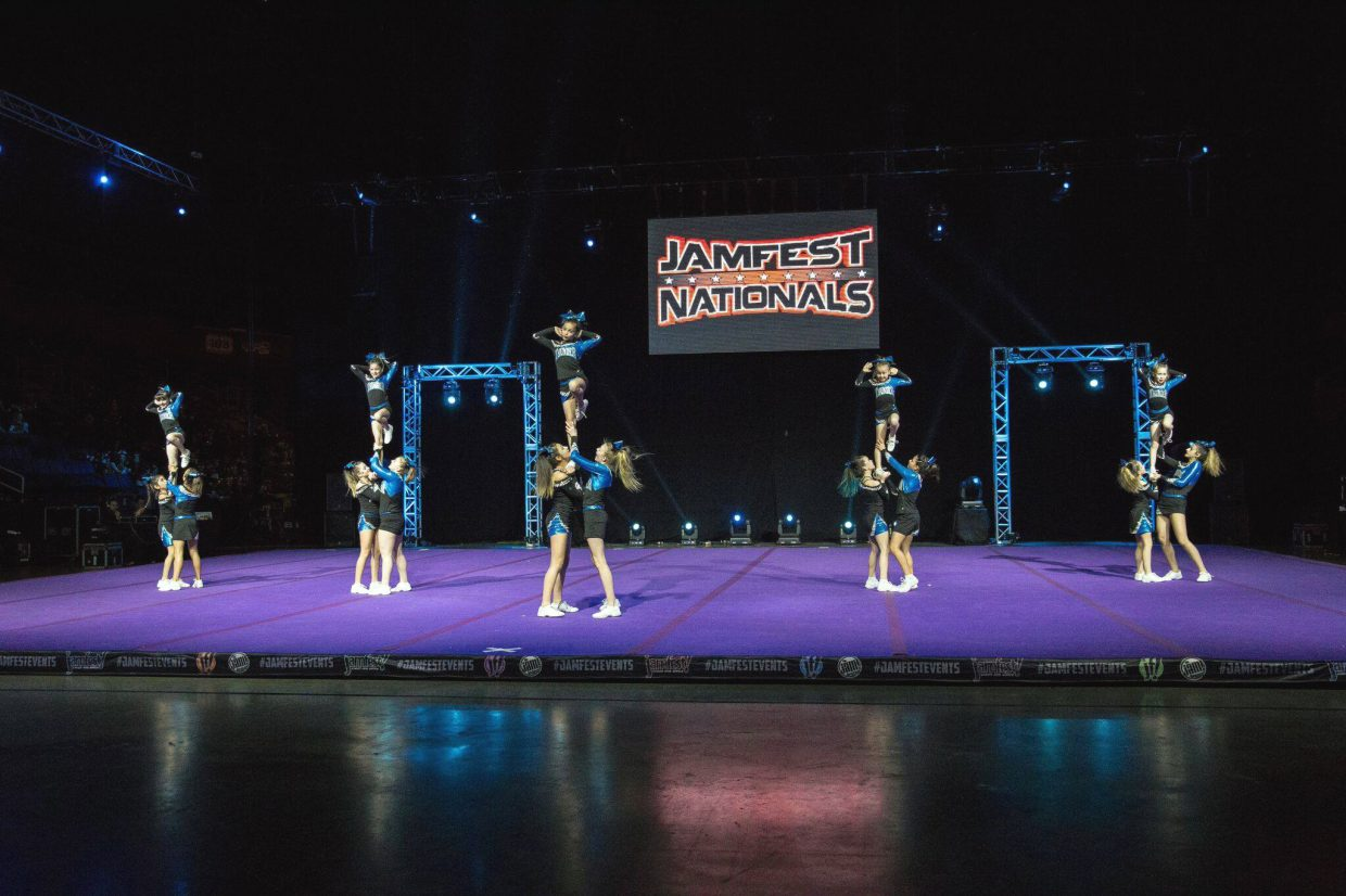 Members of Moffat County Thunder Cheer perform their routine during JAMfest Nationals in Denver. Craig athletes from three age groups competed at the event, with Level 2 Juniors placing third, Minis fourth and Level 1 Juniors sixth.